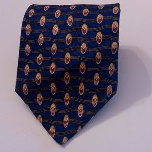 ETIENNE AIGNER MENS BLUE GOLD SILK IMPORTED TIE